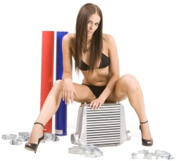 Brooke showing off intercooler, clamps and hosing!