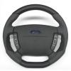 A-Tek Steering Wheel - Flat Bottom Black/Grey Alcantara Inserts - Ford BA-BF