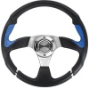 Isotta Steering Wheel - R-Evo Patterned Poly Black with Blue Leather Grips (350mm diameter)