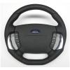 A-Tek Steering Wheel - Flat Bottom Black/Silver Inserts - Ford BA-BF